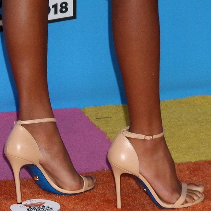 Marsai Martin's feet in Loriblu ankle-strap sandals