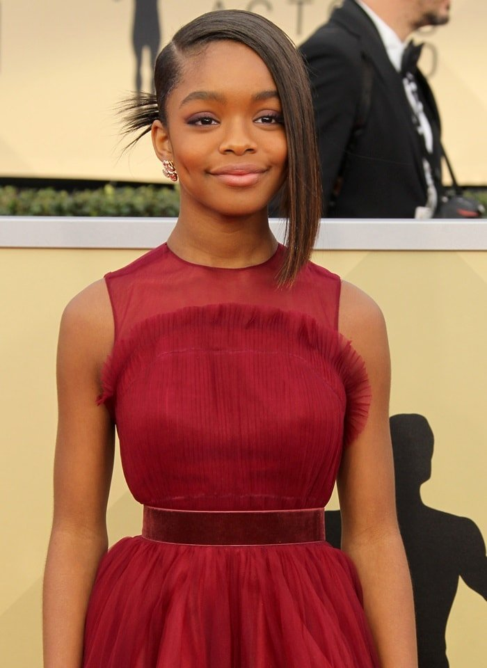 Marsai Martin's Miri Couture crimson tulle gown and Andrea Groussman jewelry