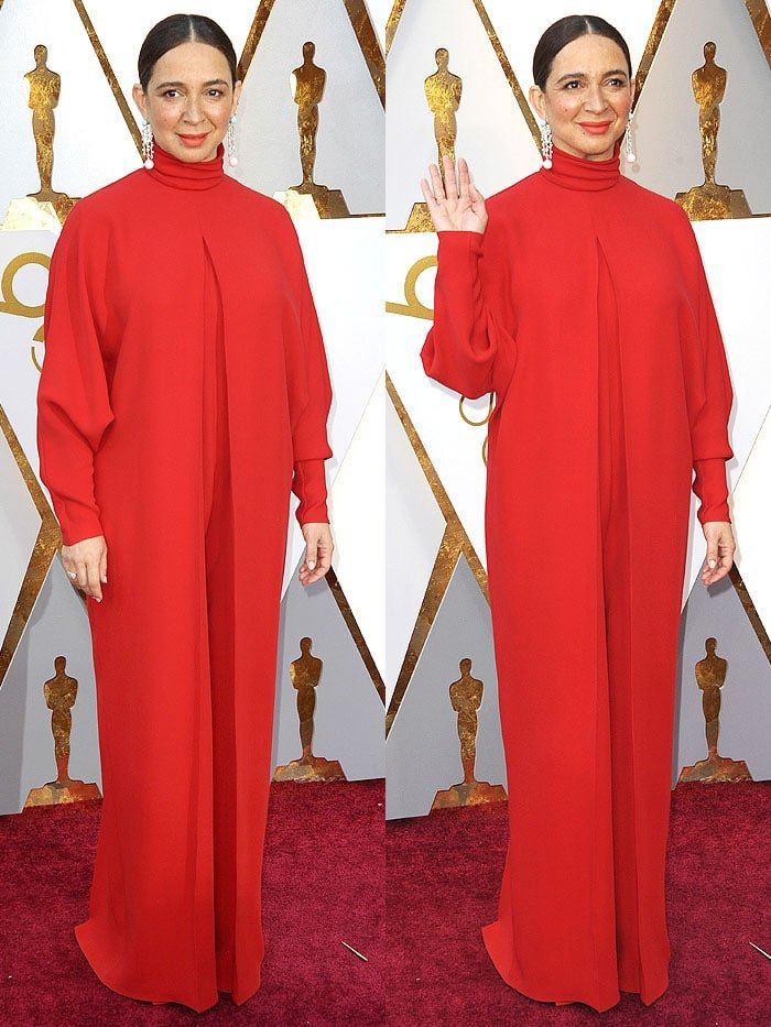 Maya Rudolph in a Valentino red jumpsuit and glass-heel sandals at the 2018 Oscars.