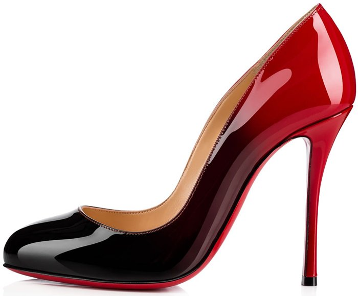 In black to red patent leather, this pair is party shoe perfection