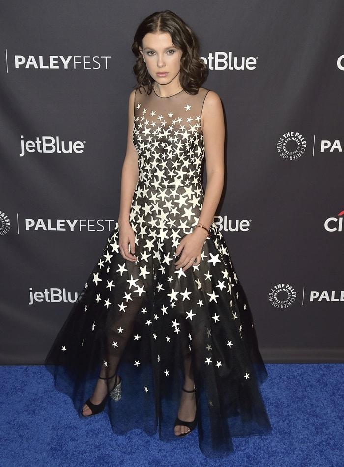 Millie Bobby Brown donnedOscar de la Renta's 'Starfish' tulle A-line cocktail dress