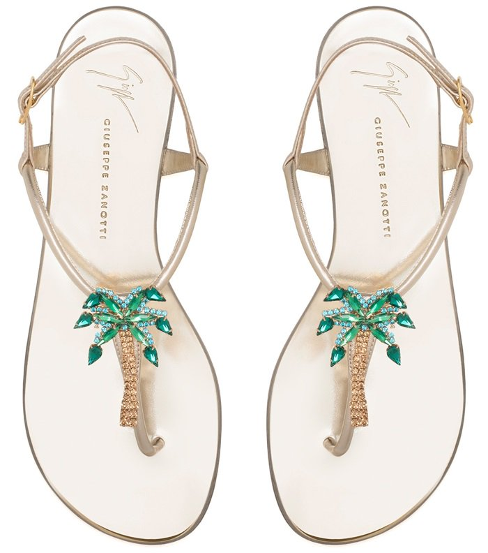 Mirrored gold leather sandals with a crystal palm tree