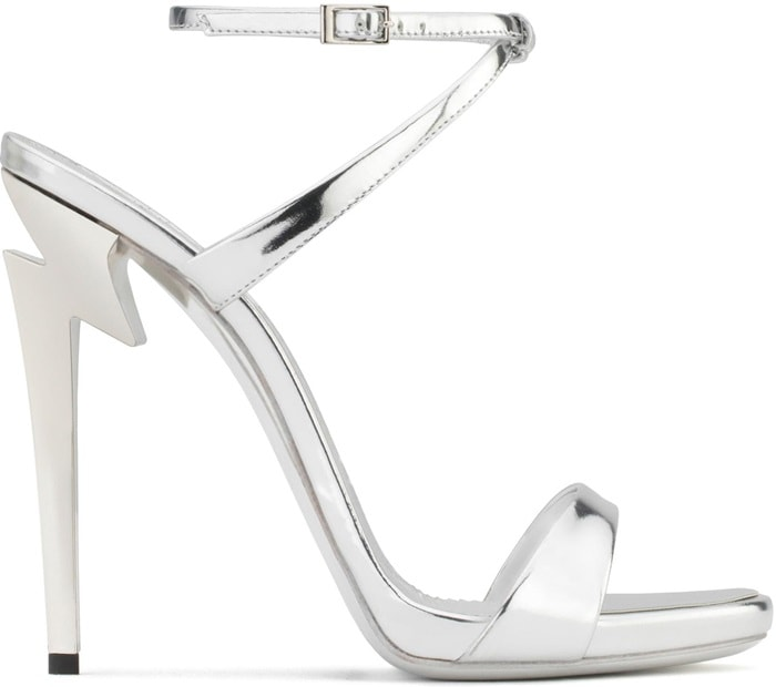 Mirrored patent leather 'G Heel' sandal with 'sculpted' heel