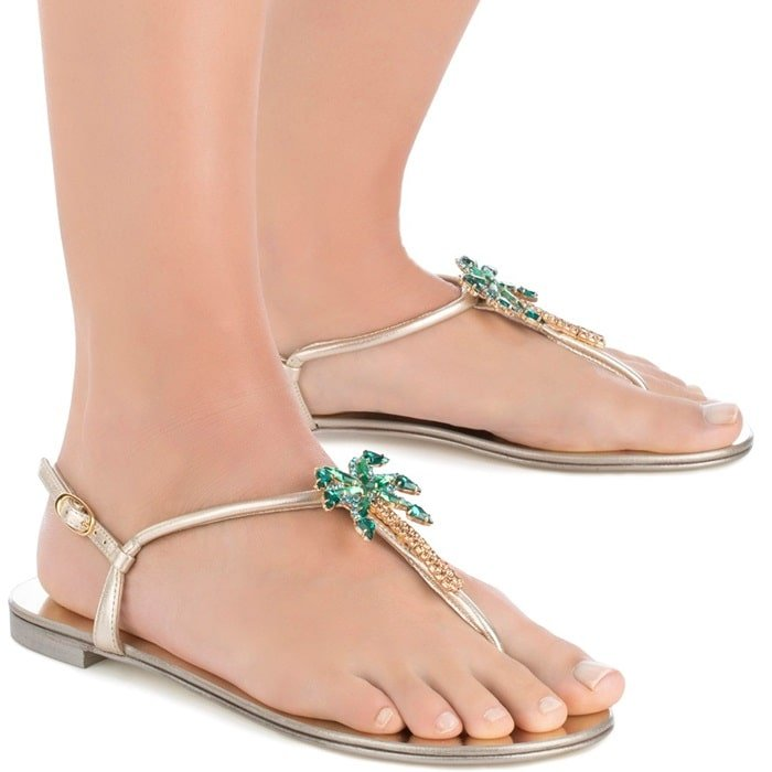 Mirrored silver flat 'Venice Beach' sandal with crystal palm tree