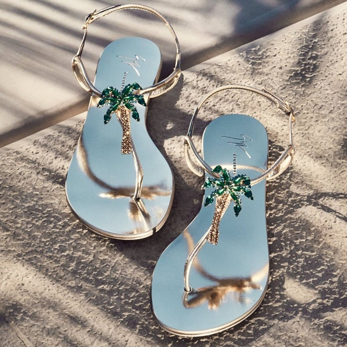 Mirrored silver flat 'Venice Beach' sandal with crystal palm