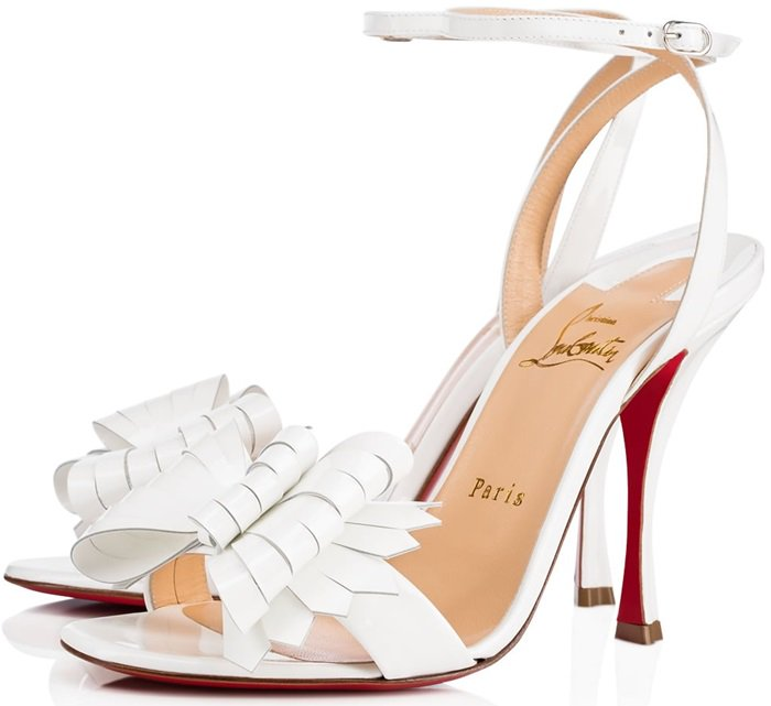 Kiltie-Style Bow 'Miss Valois' Patent Red Sole Sandals