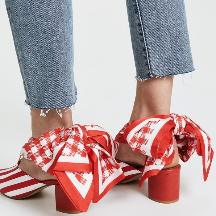 You can wear them tied around the ankle or in a big bow at the front