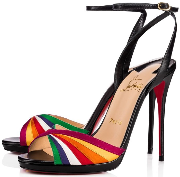 Superposing slender strips of multicolored satin in a flawlessly stitched cross-over pattern at the toe strap, this 120mm black leather slingback sandal is as rare as a rainbow