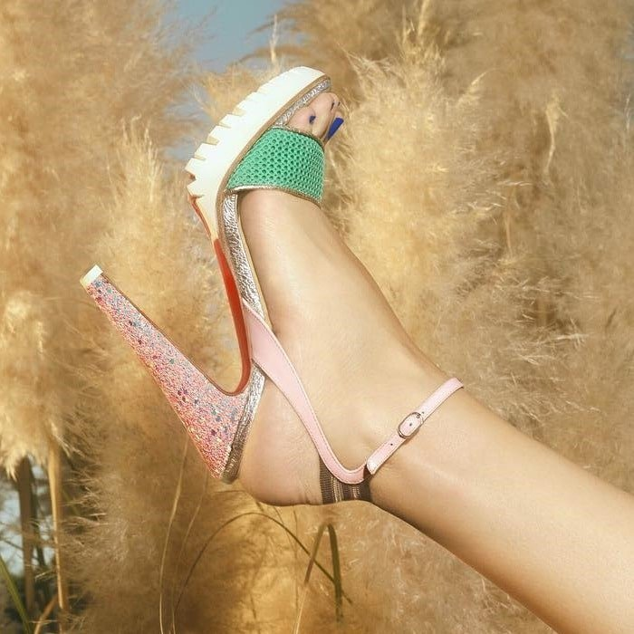 Opal Mesh Athluxury 'Volumetric' Toe Strap Heels
