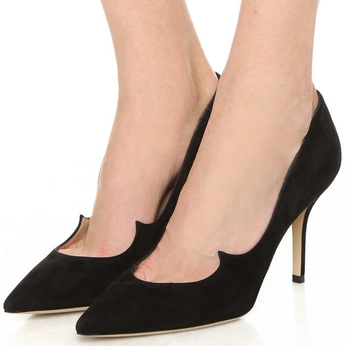 Luxe suede point-toe pump with peaked wing detail