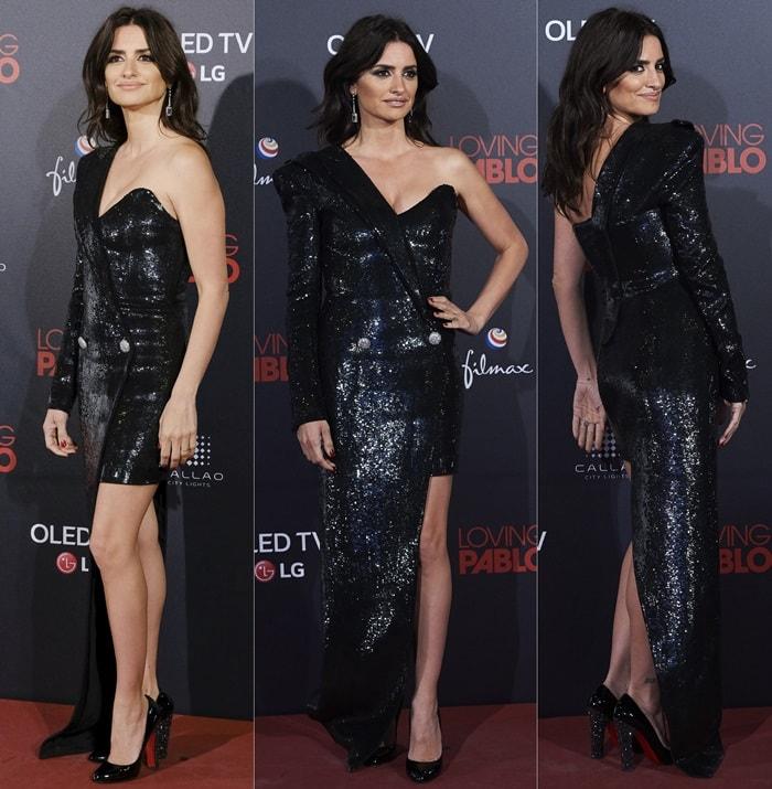 Penelope Cruz's legs ina glittering black gown with an asymmetric neckline