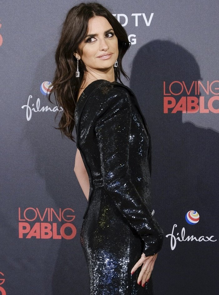 Penelope Cruz in a glittering one-shouldered gown