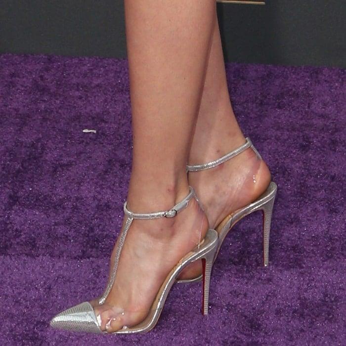 Pom Klementiefftorturing her feet inChristian Louboutin 'Nosy' pumps