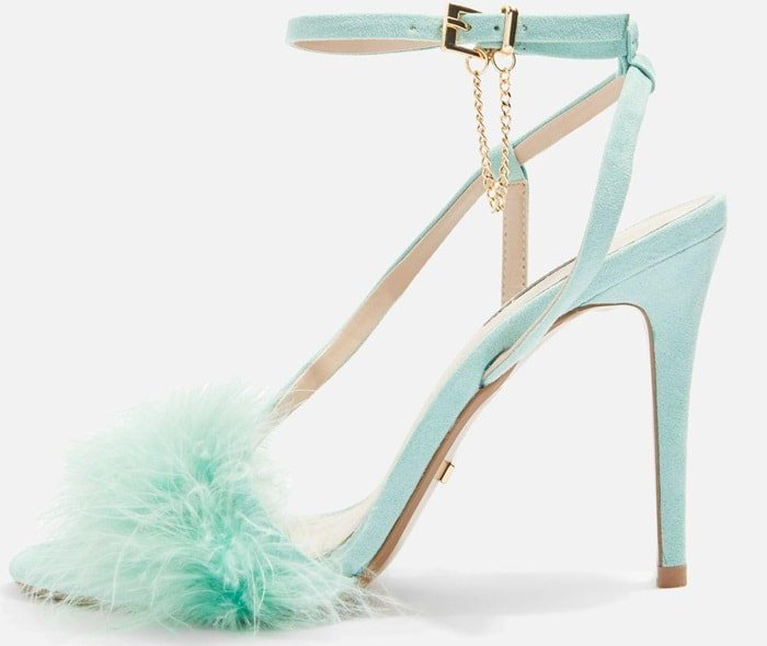 When it comes to heels, think feminine, colourful and textured with these feathered front strap sandals in mint.