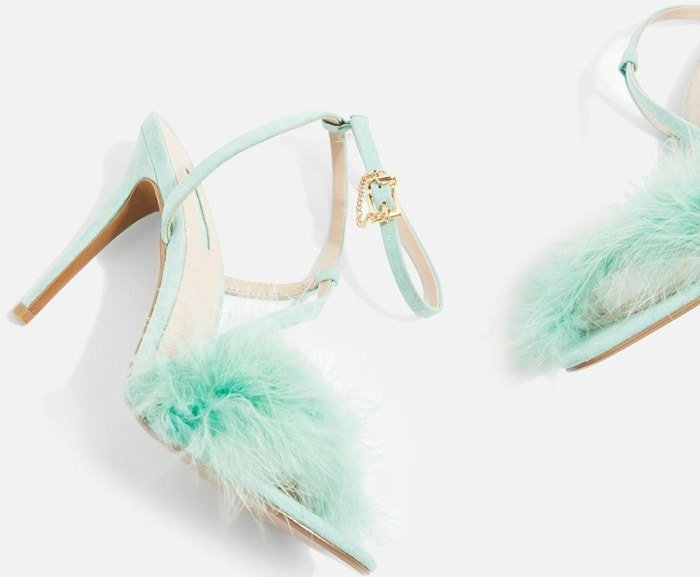Mint 'Racey' Feathered Heeled Sandals