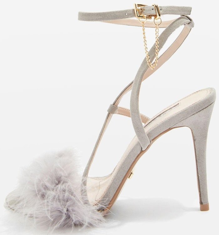 Grey Racey Feathered Heeled Sandals