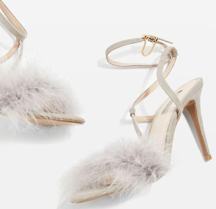 When it comes to heels, think textured and stylish with Topshop's feathered front strap sandals in grey.