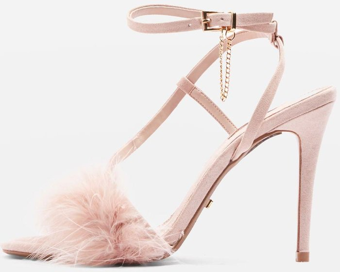 Skinny heeled sandals with nude feathered detail on front strap