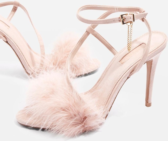 Nude 'Racey' Feathered Heeled Sandals