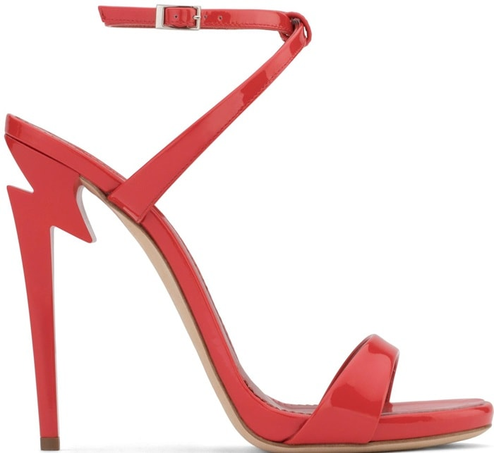 Red patent leather 'G Heel' sandal with 'sculpted' heel