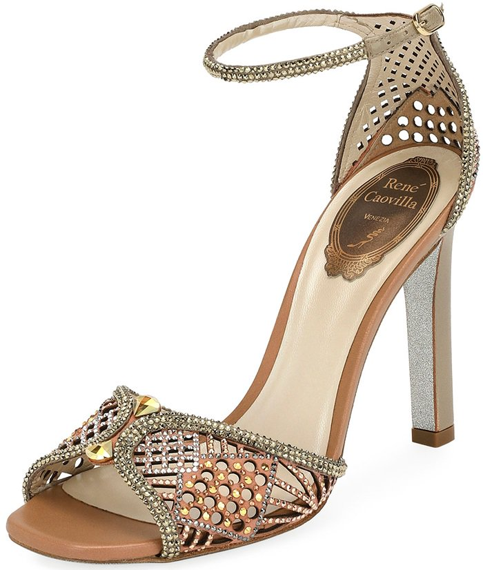 Rene Caovilla sandal in perforated leather and crystal-studded satin