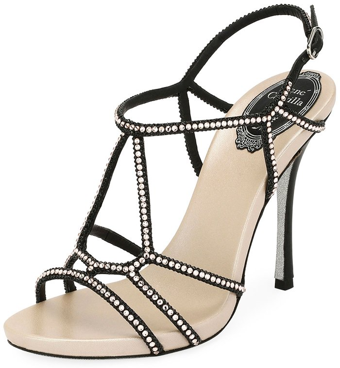Rene Caovilla evening sandal in satin with two-tone crystals throughout