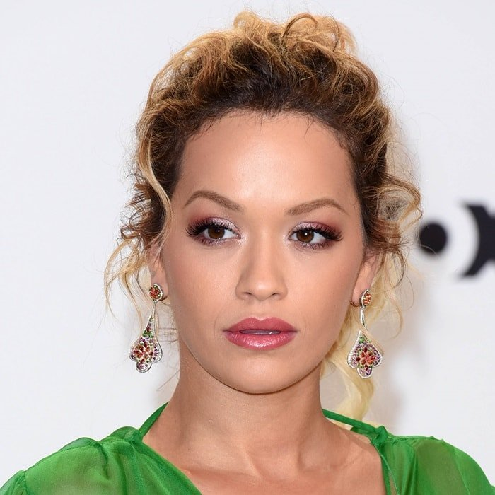 Rita Ora's dazzling earrings at the 2018 Echo Awards in Berlin, Germany, on April 12, 2018