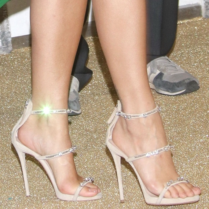 Rita Ora's feet in silver 'Harmony Sparkle' sandals