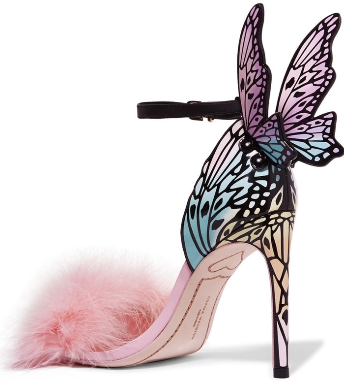 Made from patent-leather, these sandals frame the foot with laser-cut butterflies and a swathe of fluffy feathers along the front strap