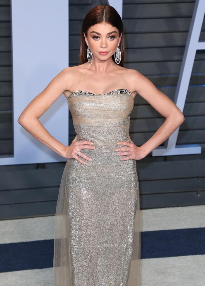 Sarah Hyland ina glittery Ermanno Scervino gownwith Lorraine Schwartz jewelry