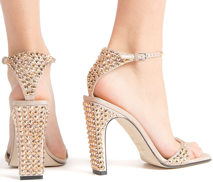 Sergio Rossi 'SR1' Crystal-Studded Sandals in Rose Gold