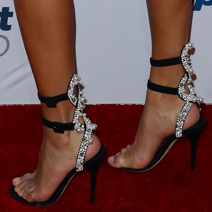 Shanina Shaik shows off her sexy feet in double ankle strap Vanessa sandals with crystals