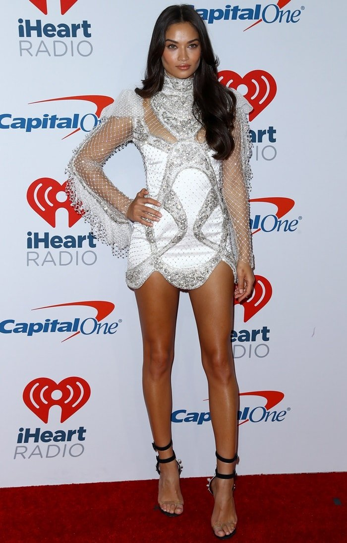Shanina Shaik flaunted her sexy legs at day two of the 2018 iHeartRadio Music Festival in Las Vegas on September 22, 2018