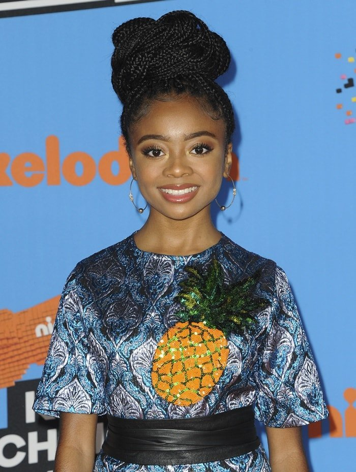 Skai Jackson's'Furby' pineapple brocade top fromAlcoolique's Resort 2018 collection