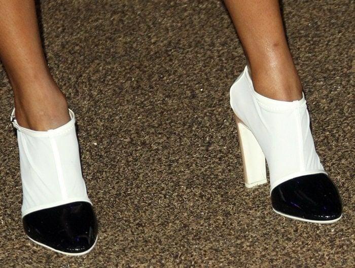 Skai Jackson'sblack-and-white booties