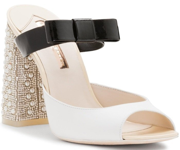 Andie Embellished Two-Tone Leather Mules