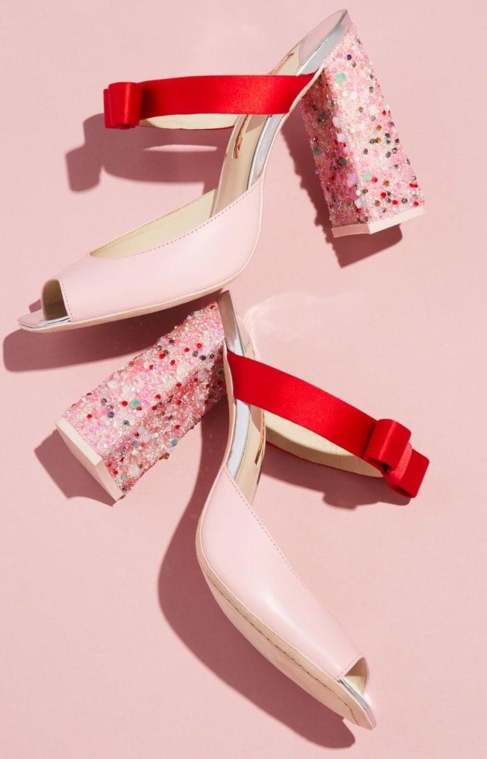 Sophia Webster Andie Embellished Two-Tone Leather/Satin Mule Sandal