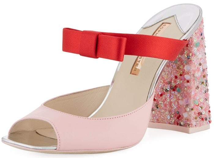 Red and pink Sophia Webster two-tone mule sandal in calf leather and satin