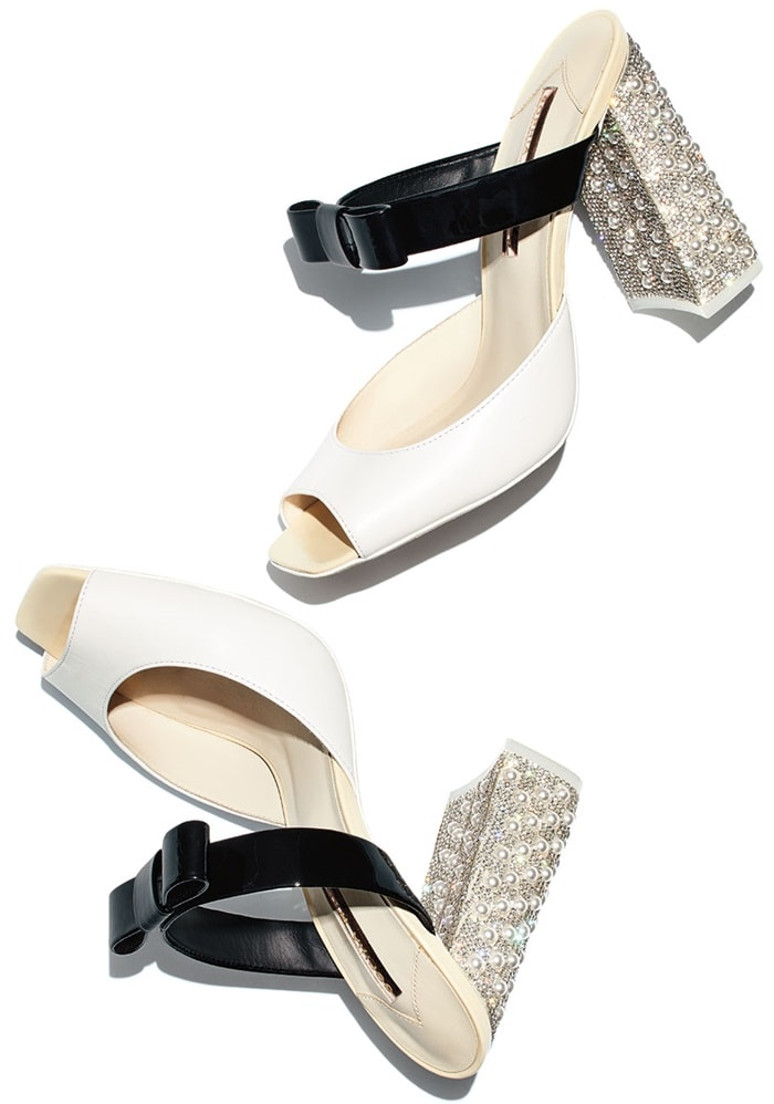 Sophia Webster two-tone mule in calf and patent leather