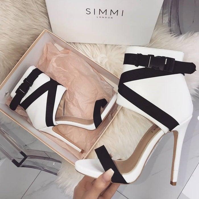 Spandex Jamilla Buckle Stiletto Heels White