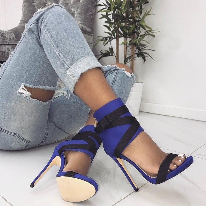Spandex 'Jamilla' Buckle Stiletto Heels