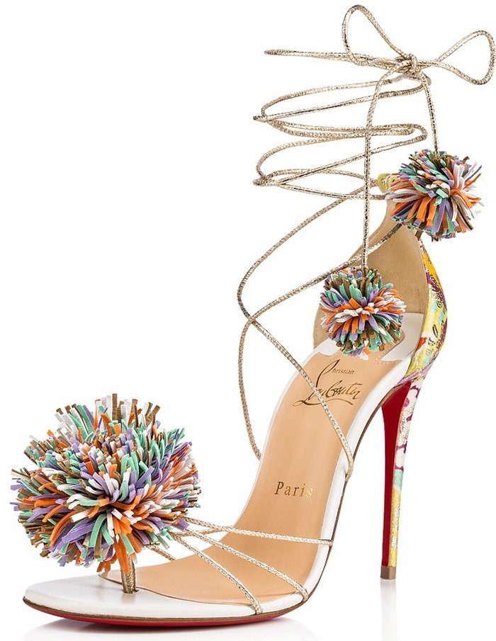 In a vibrant material mix, this 100mm sandal is finished with insouciant pompoms at the toe and laces