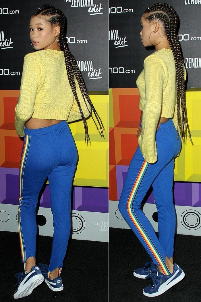 Storm Reidin rainbow tape stirrup pants from Zendaya Edit