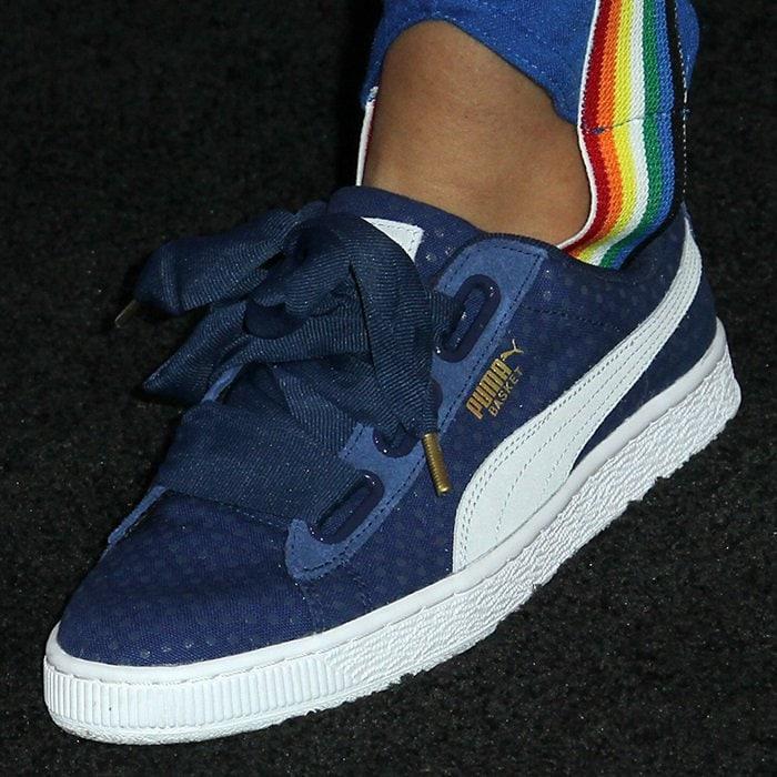 Storm Reid's 'Basket Heart' denim sneakers from PUMA