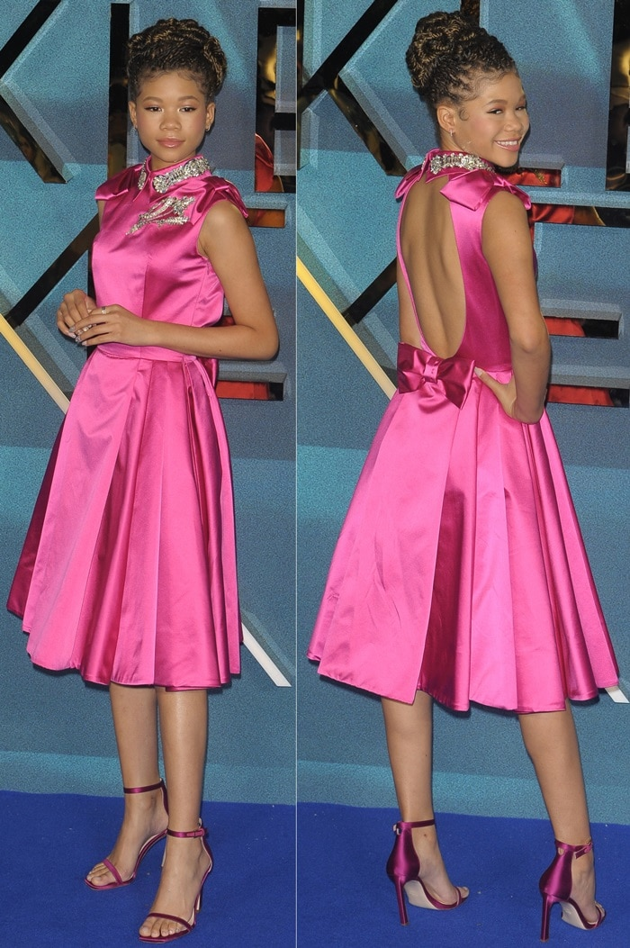 Storm Reid'sfuchsia satin cap sleeve Prada dress