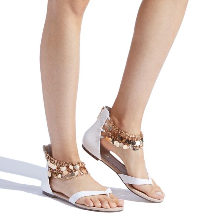 Chic white embellished flat 'Tammara' sandal