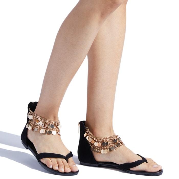 Chic black embellished flat 'Tammara' sandal