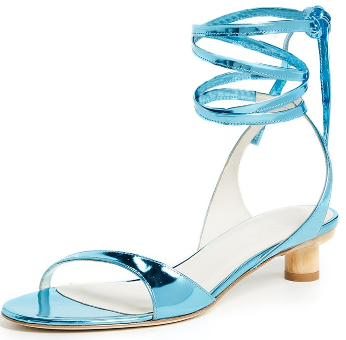 Tibi 'Scott City' Sandals in Mirrored Oxford Blue Leather