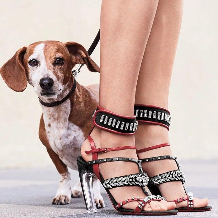 Embellished straps shape opulent caged sandals