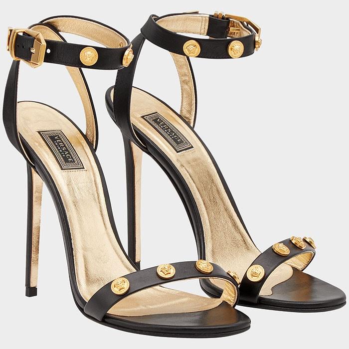 Versace Tribute Medusa-Medal Black Leather Ankle-Strap Sandals